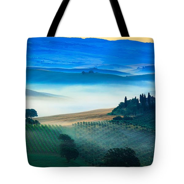 Fog In Tuscan Valley Tote Bag by Inge Johnsson