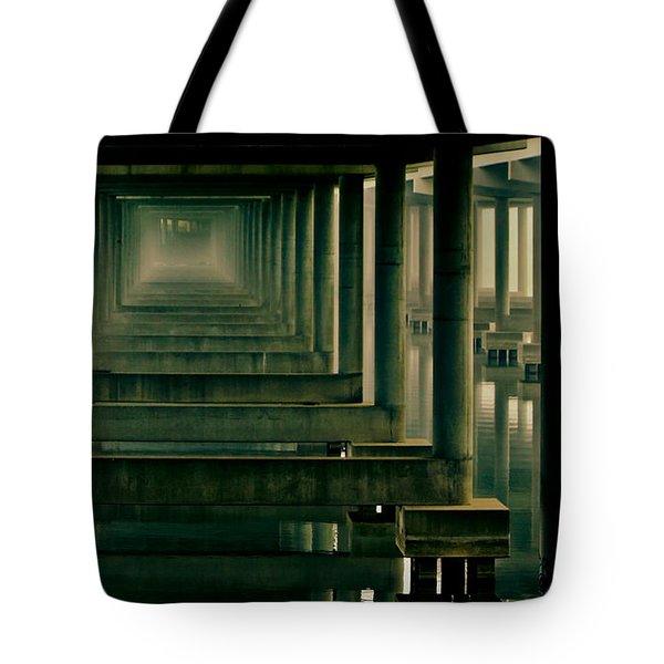 Foggy Morning Under Bridge Tote Bag