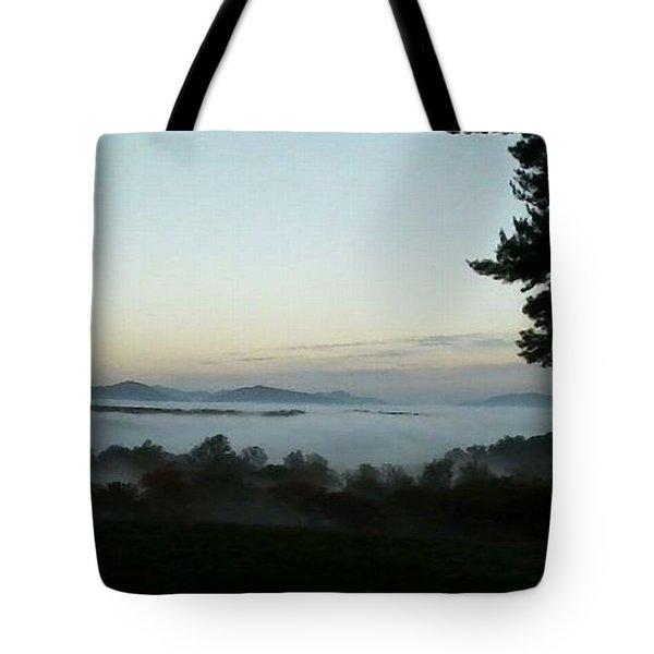 Fog Mountain Lake Tote Bag