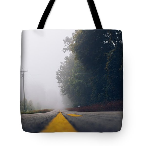 Fog On Highway Tote Bag