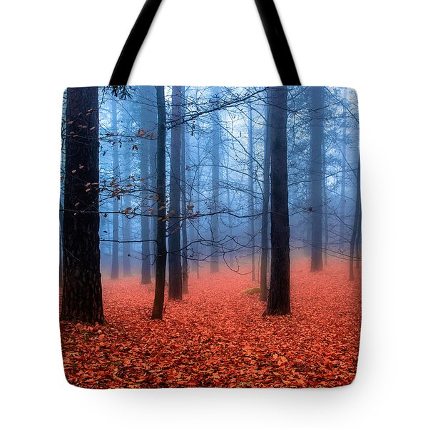 Fog On Leaves Tote Bag