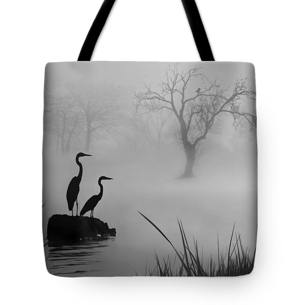 Fog On The Lake Tote Bag by Nina Bradica