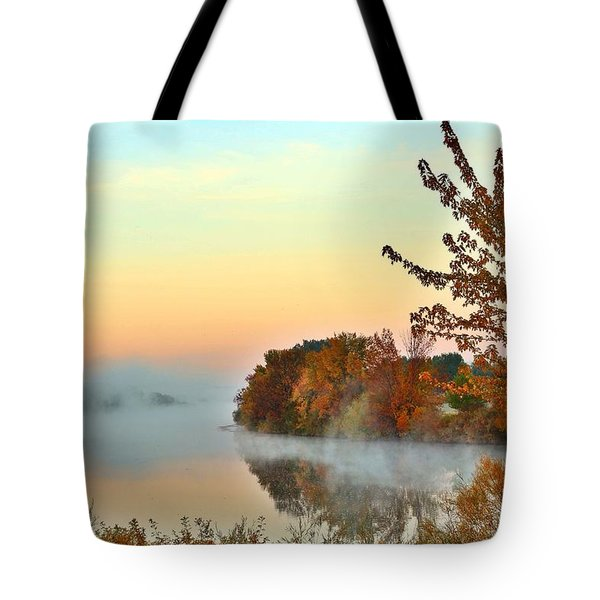 Tote Bag featuring the photograph Fog On The River by Lynn Hopwood