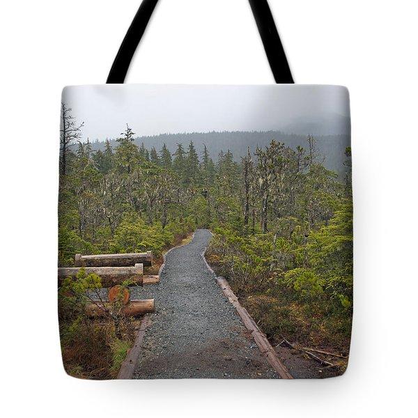 Fog On The Trail Tote Bag by Cathy Mahnke