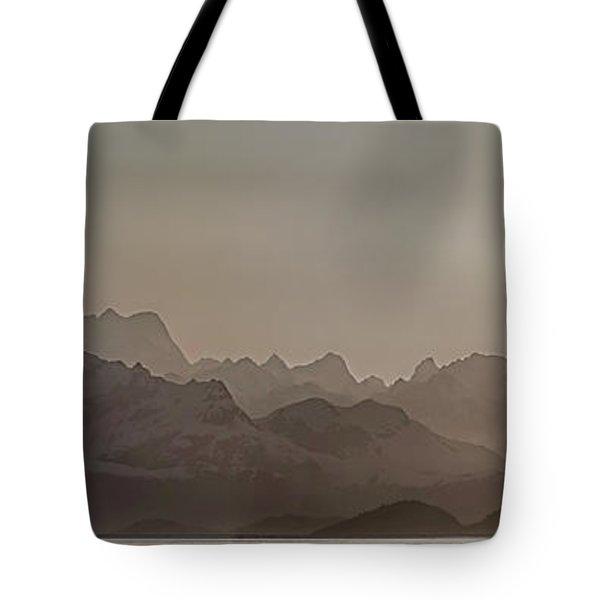 Fog Over Mountain In Glacier Bay Tote Bag