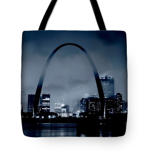 Fog Over St Louis Monochrome Tote Bag