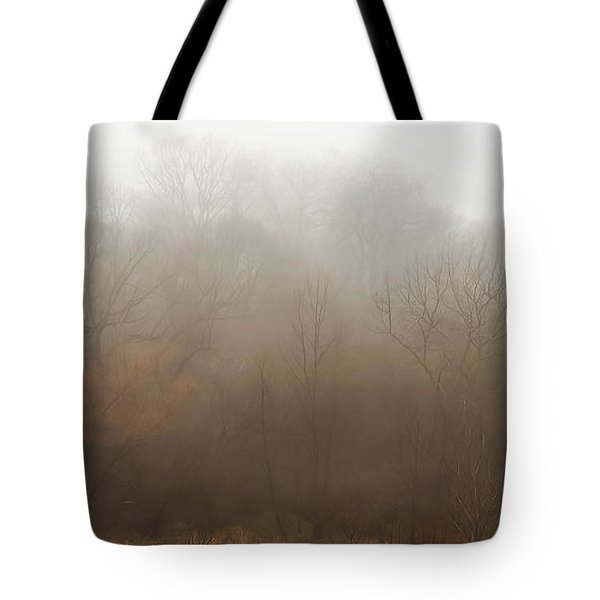 Fog Riverside Park Tote Bag