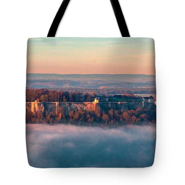 Fog Surrounding The Fortress Koenigstein Tote Bag