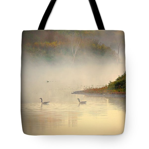 Foggy Autumn Swim Tote Bag by Elizabeth Winter