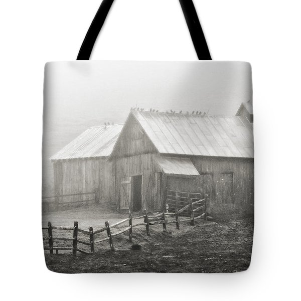 Foggy Barn Tote Bag by Joan Davis