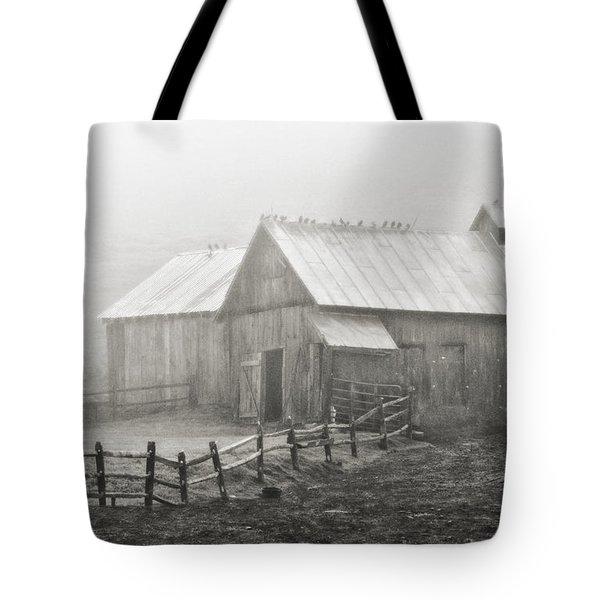 Foggy Barn Tote Bag