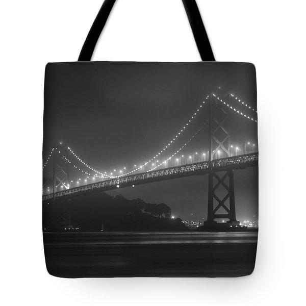 Foggy Bay Bridge Tote Bag