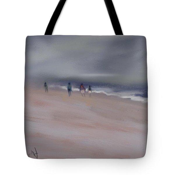 Fog On Folly Field Beach Tote Bag by Frank Bright