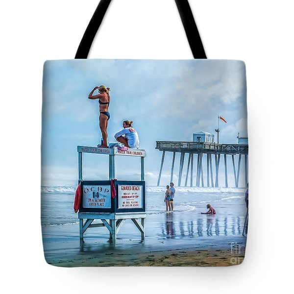 Foggy Beach View Tote Bag