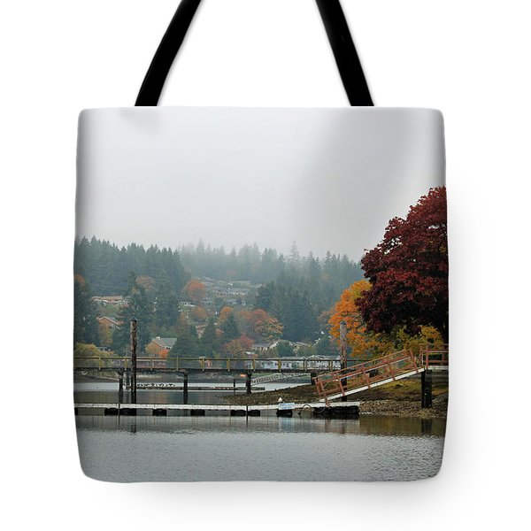 Foggy Day In October Tote Bag by E Faithe Lester