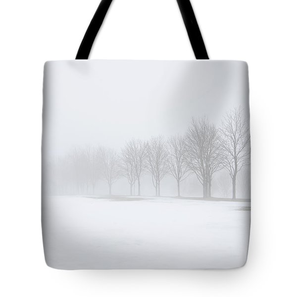 Foggy Day With Snow Tote Bag by Donna Doherty