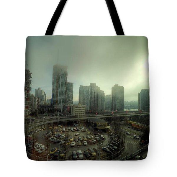 Foggy Downtown Vancouver Tote Bag by Eti Reid
