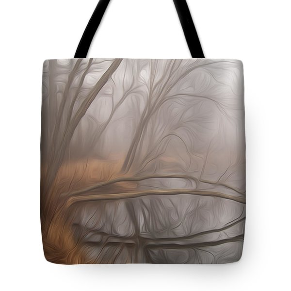 Foggy Fall Morning Tote Bag