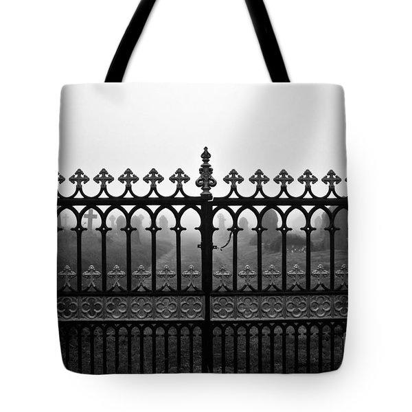 Foggy Grave Yard Gates Tote Bag by Terri Waters