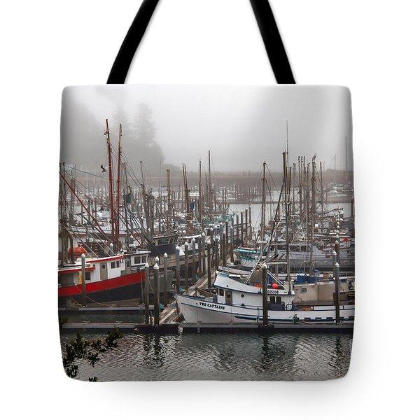 Foggy Ilwaco Port Tote Bag by Robert Bales