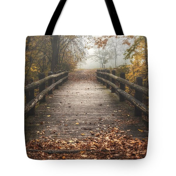 Foggy Lake Park Footbridge Tote Bag