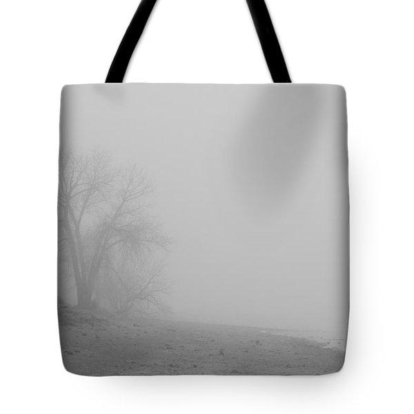 Foggy Lake Shoreline View Bw  Tote Bag by James BO  Insogna