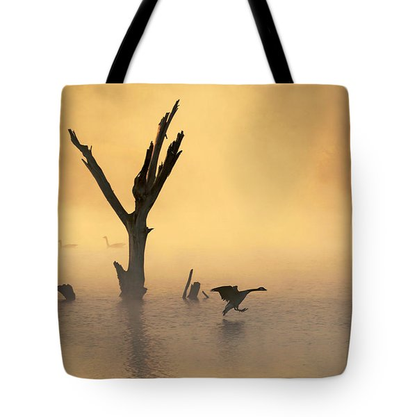 Foggy Landing Tote Bag by Elizabeth Winter