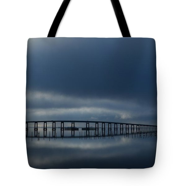 Tote Bag featuring the photograph Foggy Mirrored Navarre Bridge At Sunrise by Jeff at JSJ Photography