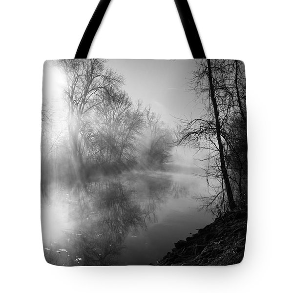 Foggy Misty Morning Sunrise On James River Tote Bag
