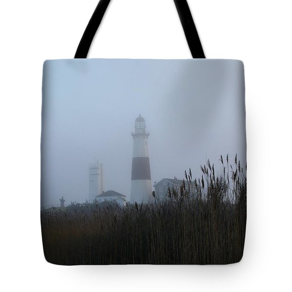 Foggy Montauk Lighthouse Tote Bag by Karen Silvestri