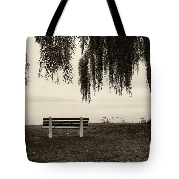 Foggy Morning At Stewart Park Tote Bag