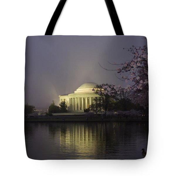 Foggy Morning At The Jefferson Memorial 1 Tote Bag