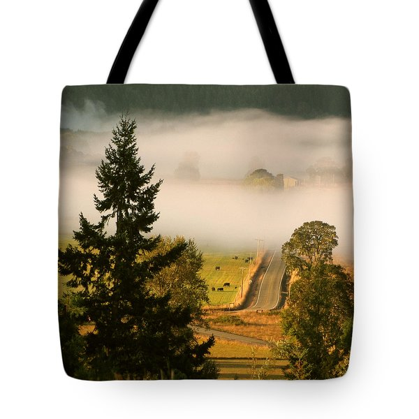 Tote Bag featuring the photograph Foggy Morning Drive by Katie Wing Vigil
