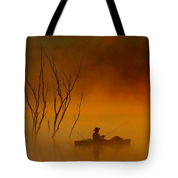 Foggy Morning Fisherman Tote Bag by Elizabeth Winter
