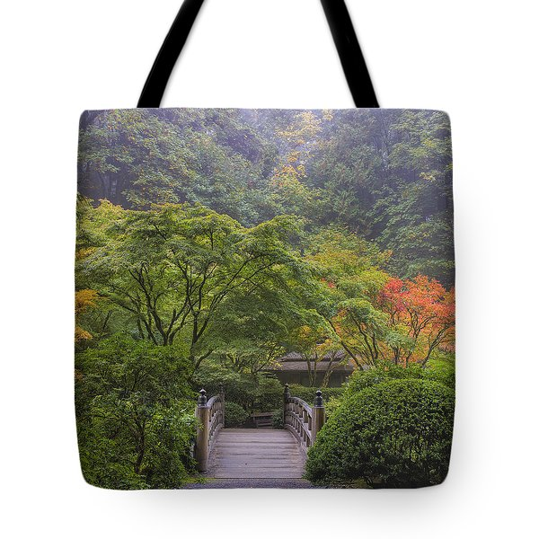 Foggy Morning In Japanese Garden Tote Bag