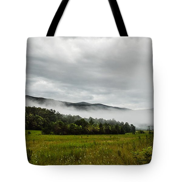 Tote Bag featuring the photograph Foggy Morning In The Mountains. by Debbie Green
