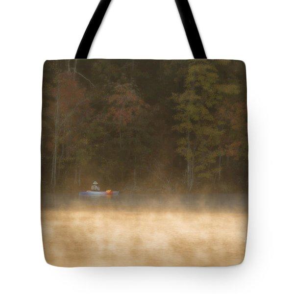 Foggy Morning Kayaking Tote Bag