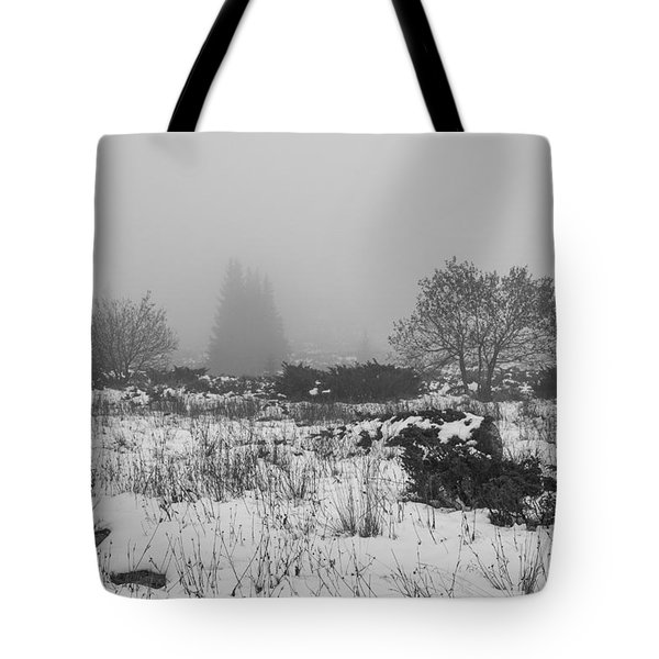 Tote Bag featuring the photograph Foggy Morning Mountain Snow by Jivko Nakev