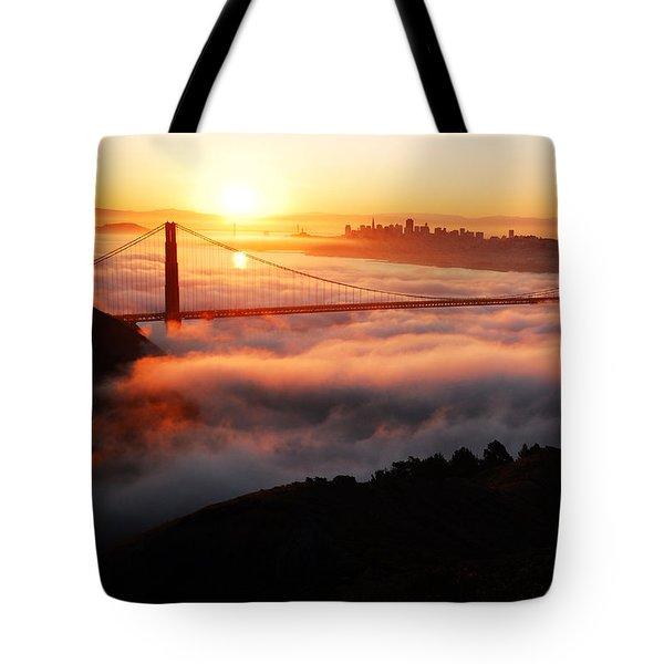 Foggy Morning San Francisco Tote Bag by James Kirkikis