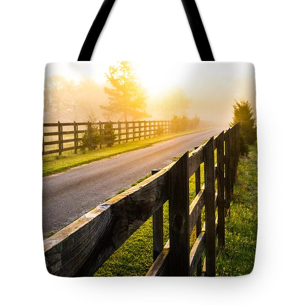 Foggy Morning Tote Bag by Shelby  Young