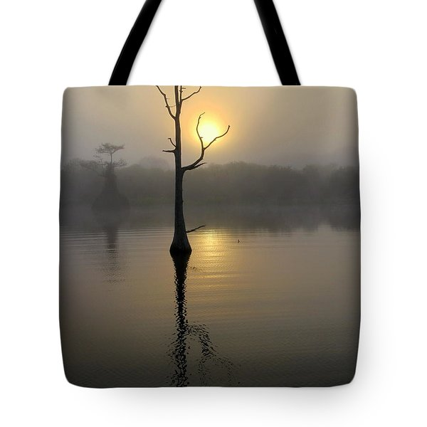 Foggy Morning Sunrise Tote Bag