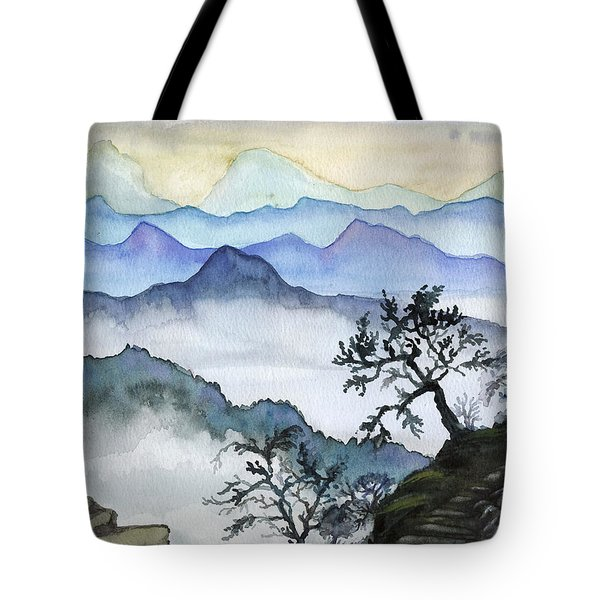 Foggy Mountaines Sunset View  Tote Bag by Alban Dizdari