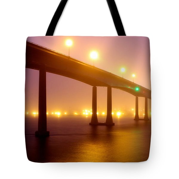 Tote Bag featuring the photograph Foggy Navy Bridge by Jennifer Casey
