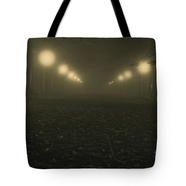 Foggy Night In A Park Tote Bag