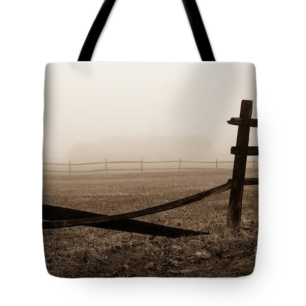 Foggy Pasture Tote Bag