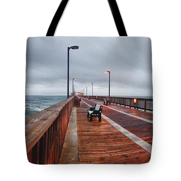 Tote Bag featuring the digital art Foggy Pier  by Michael Thomas