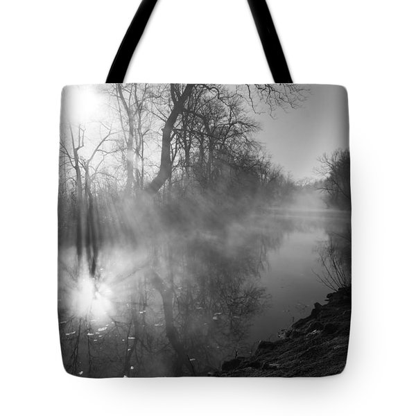 Foggy River Morning Sunrise Tote Bag