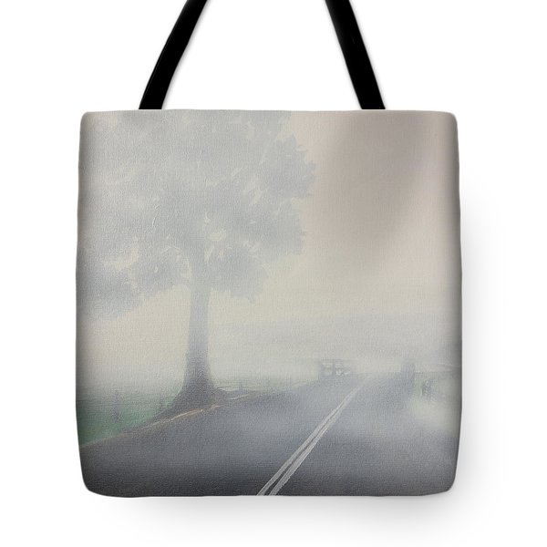Foggy Road Tote Bag by Tim Mullaney
