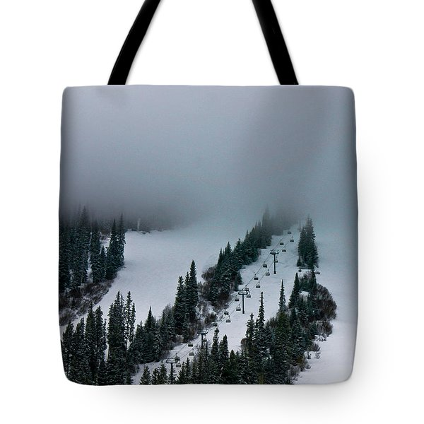 Foggy Ski Resort Tote Bag