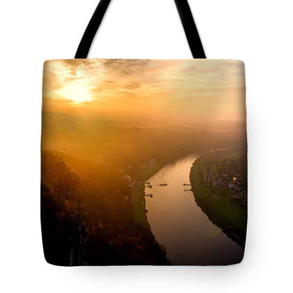 Foggy Sunrise At The Elbe Tote Bag